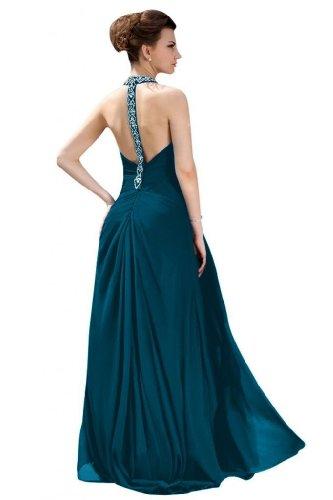 Lemandy Robe de soirée longue mousseline perles bretelle au cou - Green blue