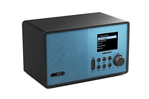 MEDION E85059 WLAN-Internetradio, 2,4 Zoll TFT Farb-Display, 40 Speicherplätze, Holzgehäuse, USB, AUX, blau/schwarz
