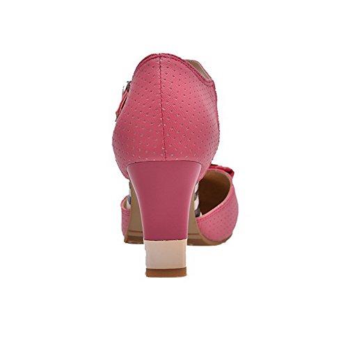 VogueZone009 Boucle Femme de Chaussures à Pastèque Légeres Mosaïque Talon Haut Rond Rouge rFr5xwq