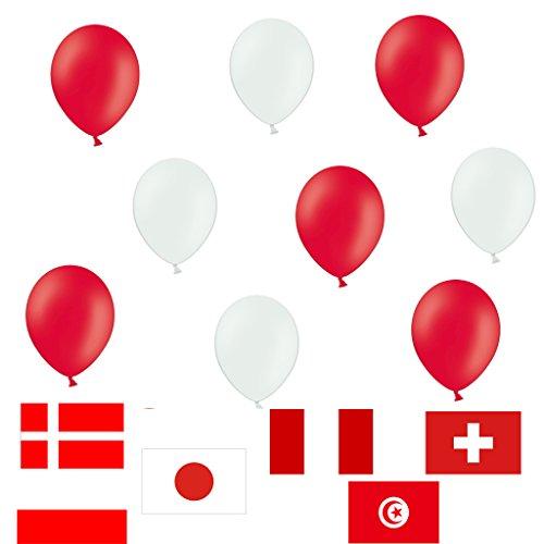 50 x Premium Luftballons je 25 Rot Weiß - ca. Ø 28cm - EU WARE nach EN 71 - Ballons als Deko, Party, Fest, Geburtstag, Fußball, Fasching, Karneval - Farbe Weiß & Rot - Helium geeignet - twist4®