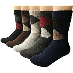 Vellette Calcetines de deporte termicos ricos en Lana Tejida Gruesa Cálida y Suave para Invierno y Otoño de Estilo para Hombre-Muje-Ideales para invierno EU 38-42(5 Pares)