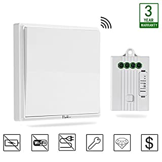 Thinkbee Wireless Light Switch Kit,No Battery No Wiring No WiFi Required,Easy to Install On/Off,Self-powered Kinetic Remote Controlled Light Switch and Receiver ,White
