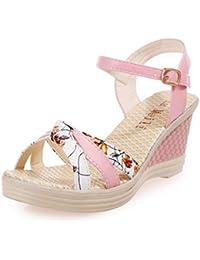 Sandalias mujer, Manadlian Mujer Sandalias de verano Cuñas Zapatos Día de San Valentín Zapatos de tacón alto (CN:37, Rosa)