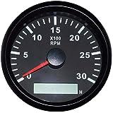 مقياس الدوران المقاوم للماء REV عداد دورة في الدقيقة مع عداد ساعة 0-3000 لفة في الدقيقة 85 مم 9-32 فولت مع إضاءة خلفية
