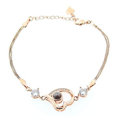 Lovelegis Damenarmband - Armband für Frauen - Damen Armband - Herzarmband- Herz - Projektor - Objektiv - Projekte - Satz - 100 Verschiedene sprachen - Bronze Farbe
