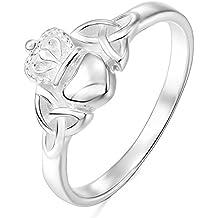 MunkiMix 925 Plata Anillo Ring Corazón Heart Amistad Amor Claddagh irlandés Corona Alianzas Boda Mujer