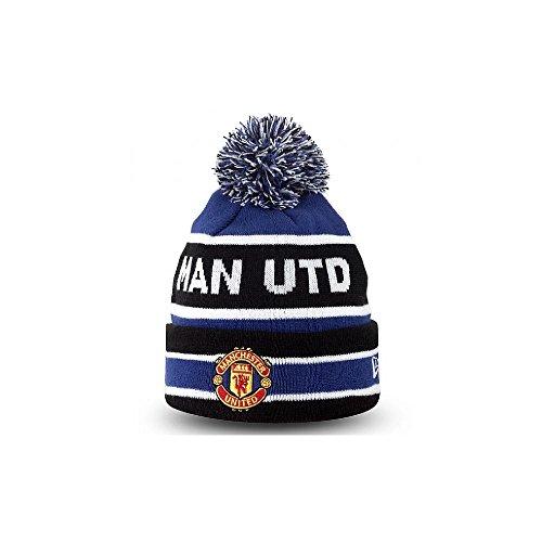 Manchester United Risvolto Pompon Calcio Berretto - sintetico, Nero/Blu elettrico, 90% poliestere -100% acrilico -10% lana, Unisex, Taglia unica