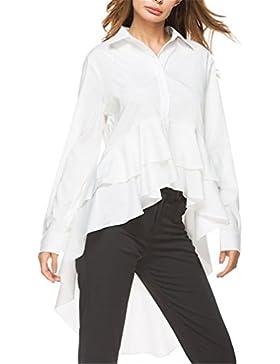 Camisa Blanca Moda Mujer Tops Otoño Ladies Elegante Solapa Manga Larga Alta Blusa Baja