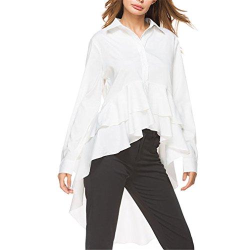 Weißes Hemd-Frauen-Art- und Weiseoberseiten-Herbst-Damen-Elegantes Revers-Lange Hülsen-Hohe Niedrige Bluse M Chiffon Tiered Top
