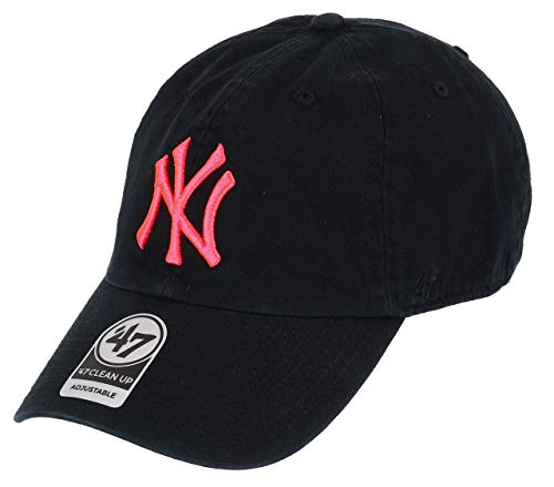 47 Brand Clean up Yankees Neon Cap Baseballcap Basecap Strapback MLB NY New York (One Size - Schwarz-Pink)