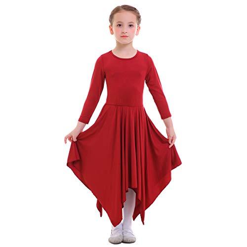 strumpfhose Liturgisch Tanzkleid Lange Ärmel Jugendliche Elegant Worship Tanzkleidung Ballett Jazz Lateinischer Tanz Kirche Chor Beten Gebet Kostüm für Kinder Rot 9-10 Jahre ()