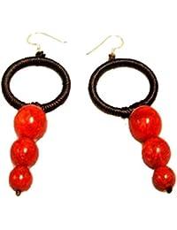 Chic-Net Korallenohrringe Baumwollohrringe 925er Silber Ohrringe Koralle Baumwolle Damen Ring Drei Perlen