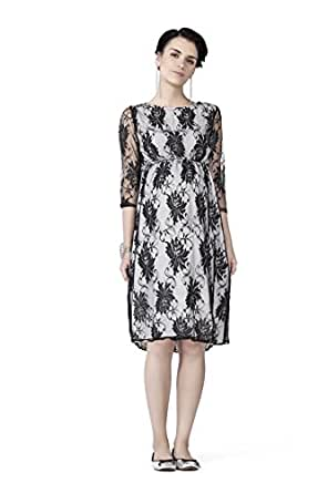Radiation Safe- Comfortable Contrasting lace maternity dress (Black, Small)