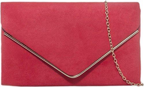 Donne Faux Suede frizione borsa busta Metallic Frame Plain Design Red
