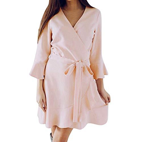 Dasongff Herbst Kleid Damen Kurz Strickkleid Rückenfrei Langarm Kleid V-Ausschnitt Frauen...