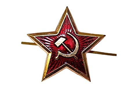 Genuine Russian Soviet Red Army Issued Large Star USSR Kokarda Cossack Trapper Fur Hat Cap Beret Pin