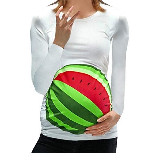 Lonshell Weihnachten Drucken Umstandsmode Langarm T-Shirt für Schwangerschaft Rundkragen Umstandshirt Hemdblusen Mutterschafts Mama Kleidung Bluse Oberteile Schwangerschaftsshirt Tops