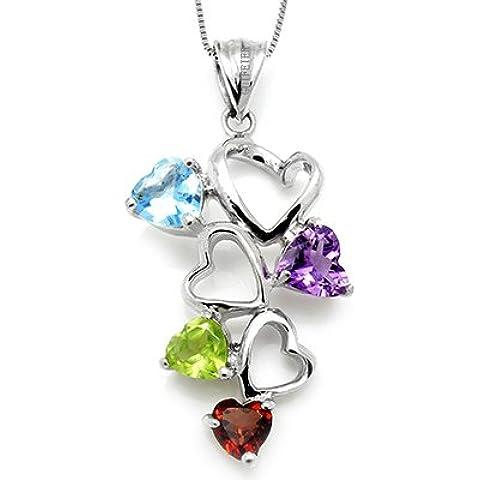 100% Amatista genuina granate lazulí Azul Topacio 925 de plata chapado en oro blanco de múltiples collar de la joyería de la gema de corazones de lujo