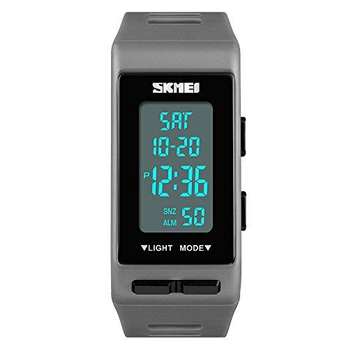 FeiWen Unisex Digital Uhren Outdoor Sport Multifunktional Rechteck Plastik Herren und Damen Armbanduhren mit Kautschuk Band LED Doppelte Zeit Alarm Countdown, Grau