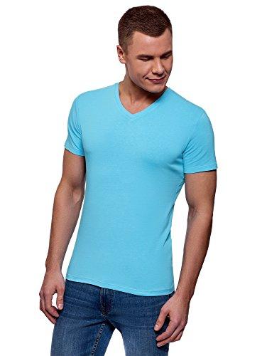 oodji Ultra Herren Tagless T-Shirt Basic, Türkis, S