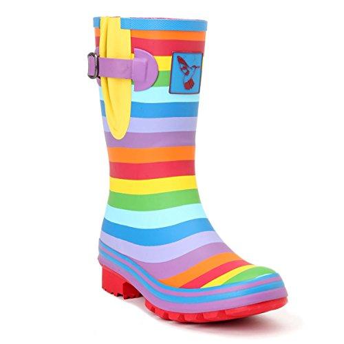 Evercreatures Frauen Gummistiefel Rainbow Tall regenbogenfarben - fallen normal aus, Rainbow, 36 EU