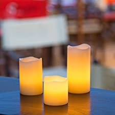 Pack 3 velas cilindro de cera Ø 5 cm a pilas, LED luz cálida, efecto llama, luces de Navidad, velas LED