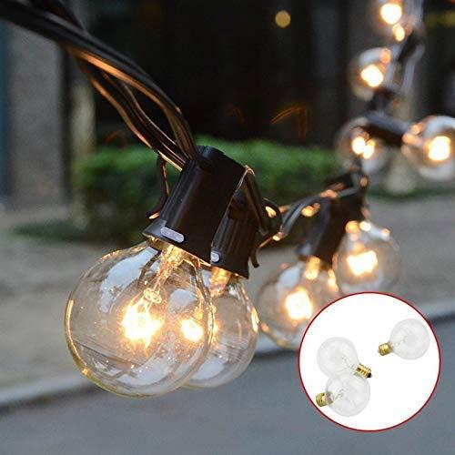 Lichterkette Glühbirne, Tomshine G40 Globe Lichterkette für Außen, 7.62M/25FT Warmweiß, Strombetrieben String Licht Lichterkette für Party (25 Birnen mit 3 Ersatzbirnen)