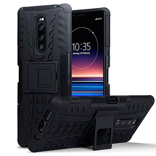 TERRAPIN, Kompatibel mit Sony Xperia 1 Hülle, TPU + PC Schutzhülle mit Standfunktion Tasche - Schwarz