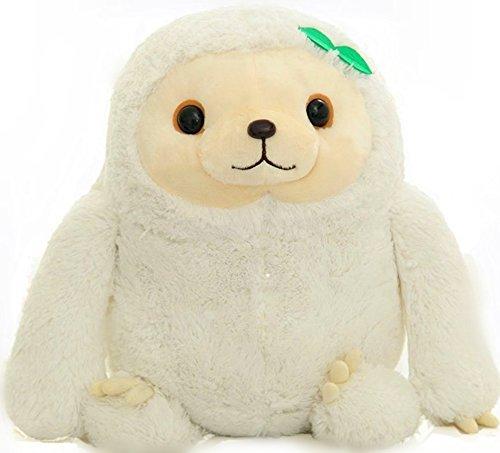 YunNaSi kuscheliges Plüsch-Faultier, weiches Stofftier, Spielzeug für Kinder oder Erwachsene, Braun / Weiß, weiß, 70 cm