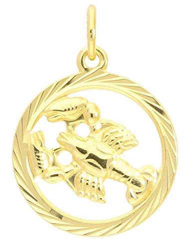 MyGold Sternzeichen Anhänger Krebs (Ohne Kette) Gelbgold 333 Gold (8 Karat) Diamantiert Innen Offen Ø 15mm Rund Tierkreiszeichen Horoskop Goldanhänger Geschenke Gavno A-04433-G302-Kre