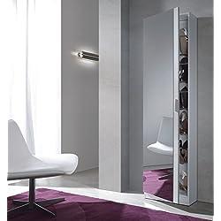 Habitdesign 007866BO - Zapatero con espejo, 180 x 50 x 20 cm de fondo, color blanco brillo