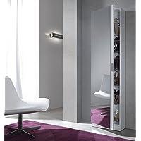Habitdesign 007866BO Zapatero con Espejo, color Blanco Brillo, 180x50x20 cm de Fondo