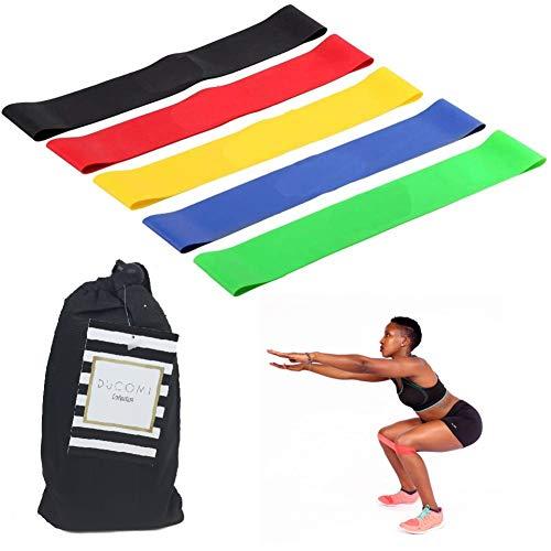 Ducomi Elastische Fitnessbänder für Widerstand - Set mit 5 elastischen Bändern für Fitness, Yoga, Pilates und Crossfit - Widerstandsbänder aus natürlichem Silikon - Leistungsfähigkeit, Muskeln