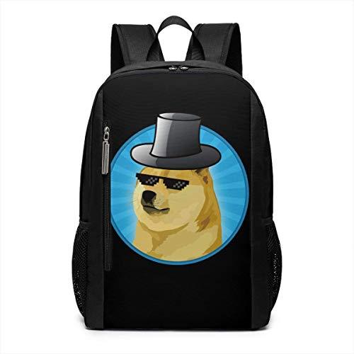 Single Dog Glasses Hat Laptop Backpack School Travel Backpack 17 inch -