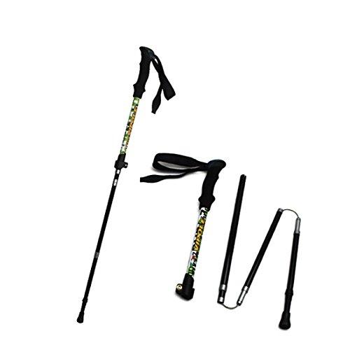 Baisde Gehstöcke-1PC Wandern Wanderstöcke Ultra-light Faltende Nordic Walking Pole mit EVA Griff und Nylon Handgelenkriemen 5-teilige verstellbare Stöcke für Trekkingstöcke