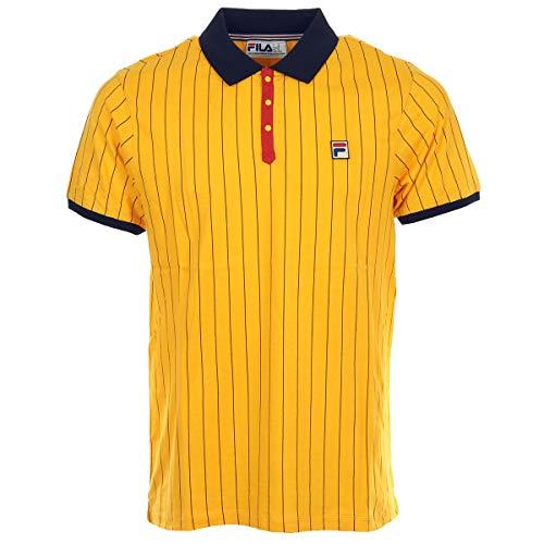 Fila Vintage BB1 Borg Pinstripe Polo Shirt Gold Fusion/Black-L (Vintage Fila Shirt)