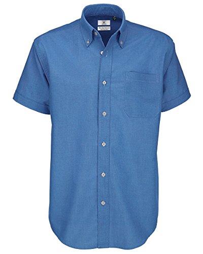 B&c - camicia classica manica corta - uomo (4xl) (blu)