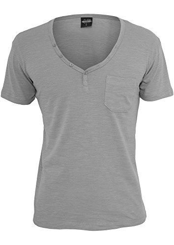 Preisvergleich Produktbild URBAN CLASSICS TB491 Slub Y-Neck Henley T-Shirt mit Y-Ausschnitt, Größe:L;Farbe:GREY