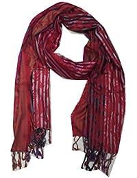 CASHMA By JAIN SHAWLS Women's 100% Viscose Red Stripe Stole