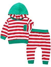Conjuntos Bebe, ASHOP 0-24 Meses Niño Niña Otoño/Invierno Ropa Conjuntos, Camisetas de Manga Larga con Capucha + Pantalones a Rayas