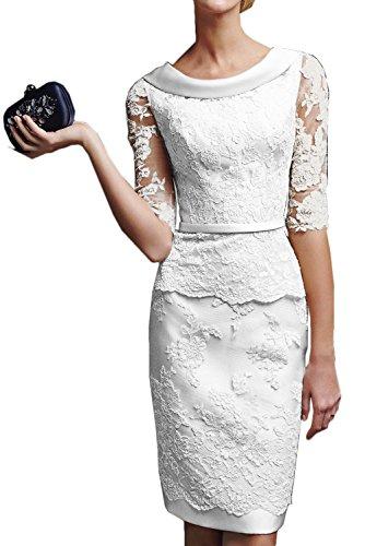 Gorgeous Bride Modisch Kurz Brautkleider Etui Lang Aermel Satin Tuell Spitze Hochzeitskleider -40...