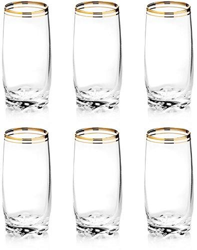Zanzer Highball-Tassen-Set, Gold, 6 Stück Elegante Waterford Crystal