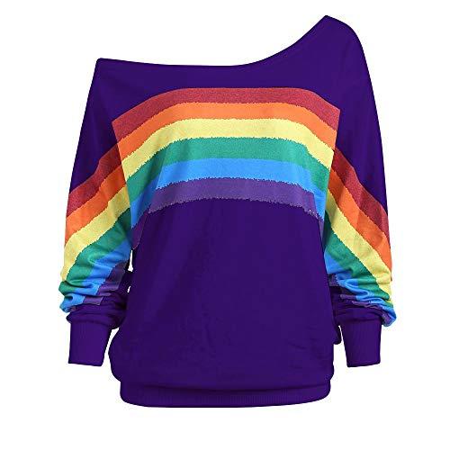Damen Pullover Langarm Tops Regenbogen Muster Sweatshirt Lose lange Hülsen Pullover Frauen beiläufige Blusen Langarmhemden Schulterfrei T Shirt Bluse Oberteile Tunika Hemd Longshirt -