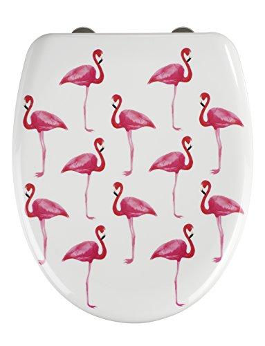 WENKO 22406100 Premium WC-Sitz Flamingo, Toiletten-Sitz mit Absenkautomatik, rostfreie Fix-Clip Hygiene Edelstahlbefestigung, 38 x 45 cm, mehrfarbig