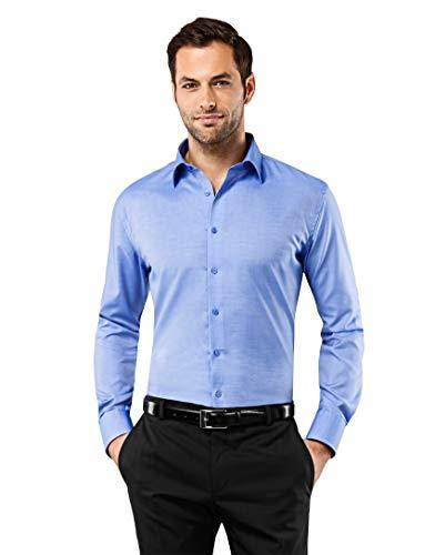 Vincenzo Boretti Herren-Hemd bügelfrei 100{1f69db0d21946640346754ae8ba671ccf5f3bf28d99d4833c1c94c9280ea2f34} Baumwolle Slim-fit tailliert Uni-Farben - Männer lang-arm Hemden für Anzug Krawatte Business Hochzeit Freizeit blau 39/40