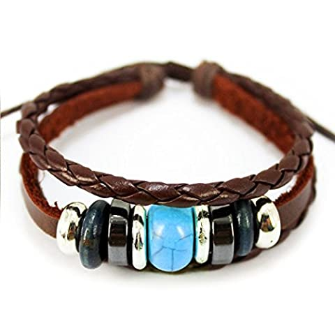 MORE FUN Turquoise Bead Leather Adjustable Brown Woven Braided Rope Bracelet by MORE FUN