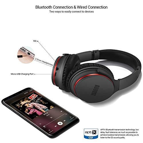 Active Noise Cancelling Kopfhörer mit Bluetooth v4.1 – August EP735 – Aktive Geräusch-Unterdrückung Over-Ear (Multipoint, Mikrofon, Fernsteuerungstasten, bis zu 18h Akku) - 5