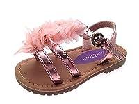 Kids Girls Summer Sandals Infants Metallic Pink Chiffon Flower Sandals Size UK 8
