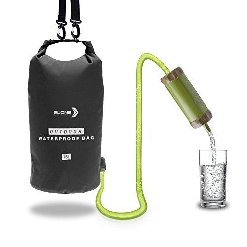 Wasser Filter Tasche Portable Luftreiniger Wasser Lagerung mit Filter & Dusche Perfekt für Outdoor Camping Bootfahren Kayaking Angeln Rafting Kanufahren Schwarz / Grün (Schwarz) (Trinken Wannen)