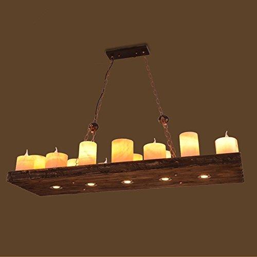 LED/ American Retro-industrielle Wind bar-Café-Restaurant kreative Holzkunst Kerze Halter Kronleuchter -